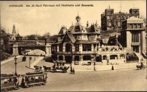 Ak Hamburg Mitte St. Pauli, Partie am St. Pauli Fährhaus mit Hochbahn und Seewarte, Straßenbahn
