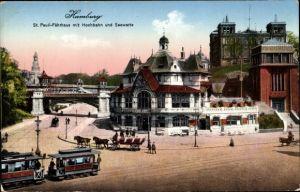 Ak Hamburg Mitte St. Pauli, Blick auf St. Pauli Fährhaus mit Hochbahn und Seewarte, Straßenbahn