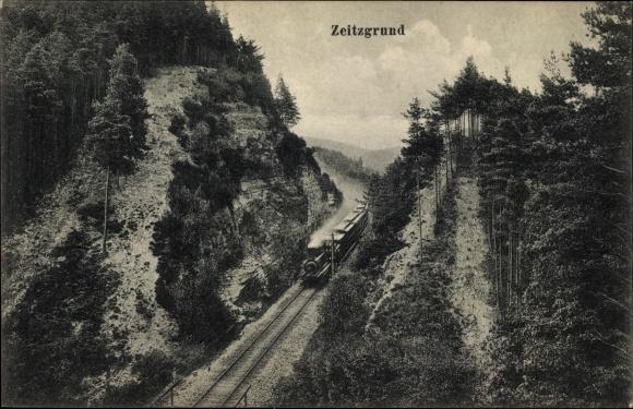 Ak Deutsche Eisenbahn, Dampflokomotive, Zeitzgrund, Schlucht