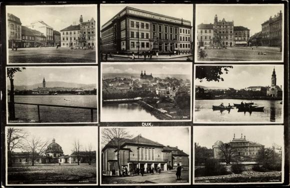 Foto Ak Duchcov Dux Region Aussig, Teilansichten, Markt, Gebäude, Bahnhof