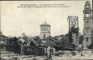 Ak Bruxelles Brüssel, Expo 1910, Ruines du Palais de Belgique vers le Pavillon de Bruxelles