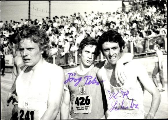Foto Ak DDR Leichtathleten, Jörs Peter, Karl Heinz Leiteritz, Läufer