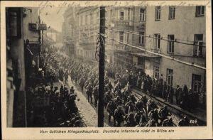 Ak Vilnius Wilna Litauen, Deutsche Infanterie rückt ein, Östlicher Kriegsschauplatz, I. WK