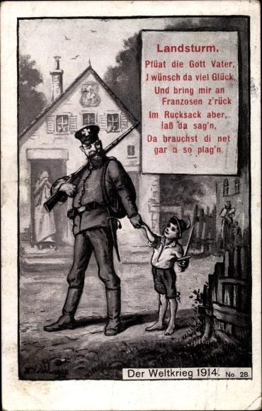 Künstler Ak Landsturm, Pfüat die Gott Vater, Soldat beim Abschied von seinem Sohn, 1914, I. WK
