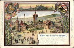 Künstler Ak Nürnberg in Mittelfranken Bayern, Gruß vom Volksfest
