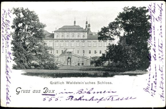 Ak Duchcov Dux Region Aussig, Gräflich Waldstein'sches Schloss