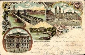 Litho Hansestadt Bremen, Weserbrücke, Rathaus, Tivoli Theater