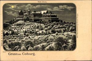 Mondschein Litho Coburg in Oberfranken, Veste Coburg, Nachtansicht