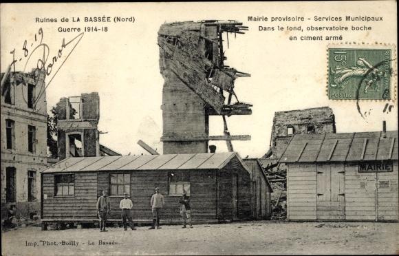 Ak La Bassée Nord, Mairie provisoire, observatoire boche en ciment armé, Kriegszerstörungen, I. WK