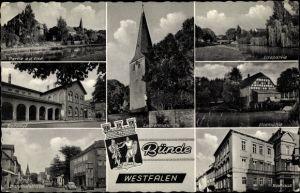 Ak Bünde im Kreis Herford, Ansichten, Laurentiuskirche, Elsepartie, Elsemühle, Rathaus, Bahnhof