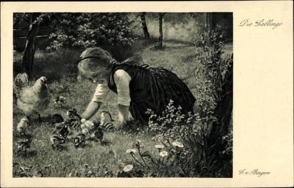 Künstler Ak von Bergen, Claus, Die Lieblinge, Mädchen spielt mit Küken