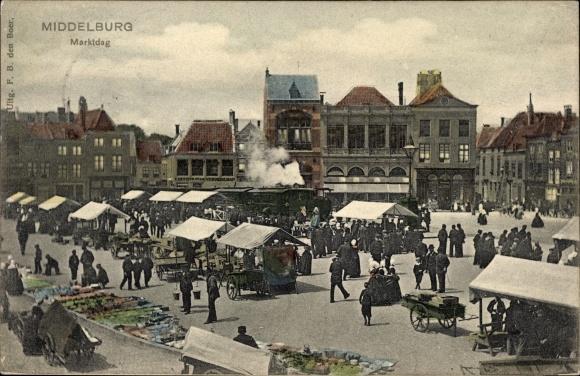 Ak Middelburg Zeeland Niederlande, Marktdag, Marktplatz