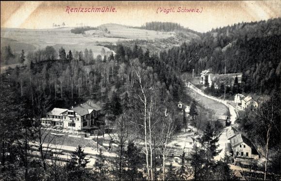 Ak Rentzschmühle Pöhl im Vogtland, Bahnhof und Gasthaus, Ortspartie, Umgebungspanorama