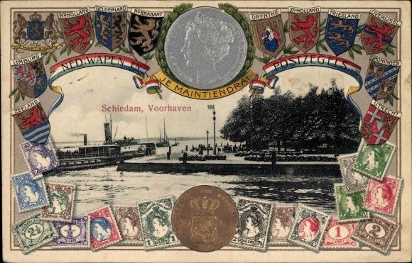 Präge Wappen Briefmarken Ak Schiedam Südholland Niederlande, Voorhaven, Dampfer, Königin Wilhelmina