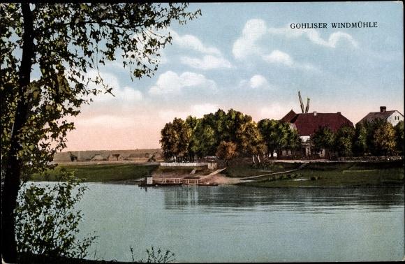 Ak Dresden West Gohlis, Flusspartie mit Blick zur Windmühle