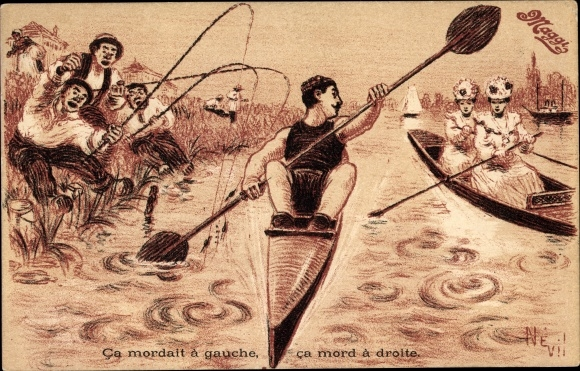 Künstler Ak Ca mordait à gauche, ca mord à droite, Ruderer, Wütende Angler, Maggi Reklame