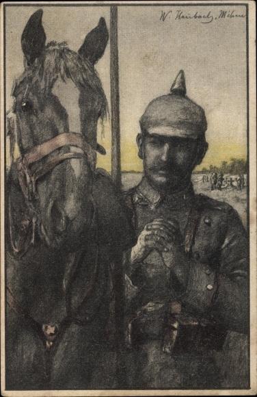 Künstler Ak Heubach, W., Betender Soldat an seinem Pferd