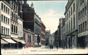 Ak Düren in Nordrhein Westfalen, Weierstraße und Rathaus, Korsetts M. Mayer, Geschäft H. Schaefer