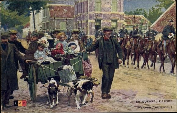 Ak En Guerre, L'Exode, Belgische Kriegsflüchtlinge, Hundekarre, Soldaten