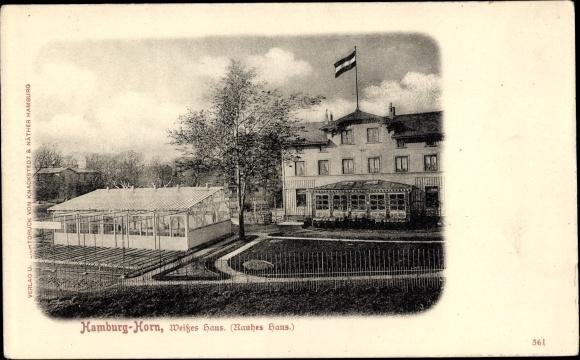 Ak Hamburg Mitte Horn, Weißes Haus, Rauhes Haus, Gartenpartie ...