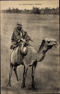 Ak Bagdad Irak, Arab on Camel, Araber reitet auf einem Kamel
