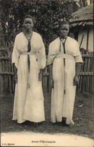Ak Äthiopien, Jeune Filles shangalla, Portrait von zwei junge Afrikanerinnen