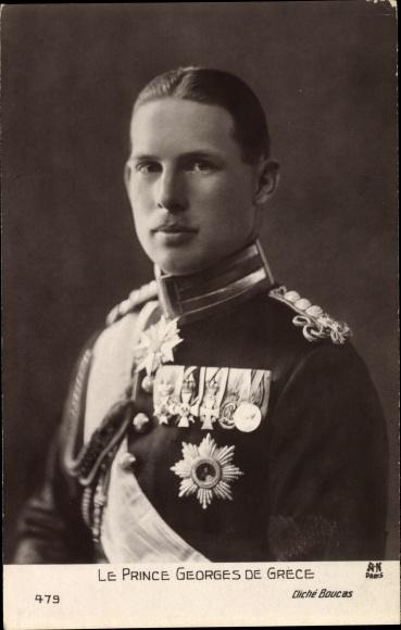 Ak Le Prince Georges de Grece, Prinz Georg von Griechenland, Portrait in Uniform, Orden