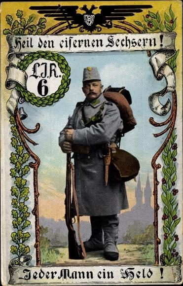 Passepartout Ak Heil den eisernen Sechsern, LIR 6, Soldat mit Gewehr