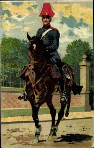 Künstler Ak Hoffmann, Anton, Deutscher Soldat auf seinem Pferd, Portrait