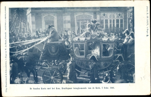 Ak Niederlande, Goldene Kutsche, Königliches Brautpaar, 07. Februar 1901, Wilhelmina, Hendrik