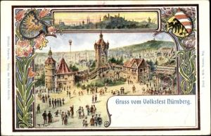 Künstler Ak Nürnberg, Gruß vom Volksfest, Festgelände
