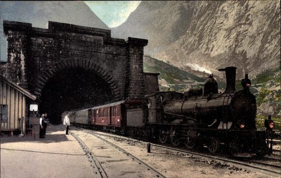 Ak Schweiz, Gotthardbahn, Der große Tunnel bei Goeschenen, Dampflok