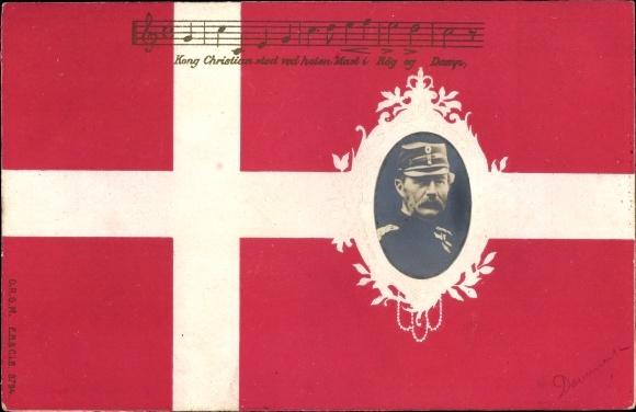 Präge Lied Ak Dänemark, König Christian IX. von Dänemark, Portrait