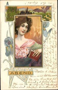 Jugendstil Künstler Litho Abend, Frauenportrait, Buch, Meissner & Buch 1096, Die vier Tageszeiten