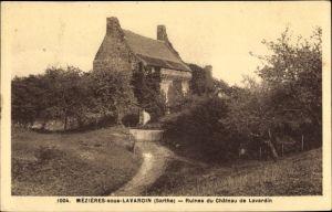 Ak Mézières sous Lavardin Sarthe, Ruines du Chateau de Lavardin, Schlossruine