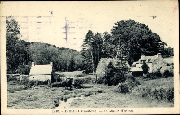Ak Trébau Finistère, Le Moulin dèn bas, Landschaftsansicht mit Gebäuden