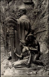 Ak Lohmen im Elbsandsteingebirge, Richard Wagner Denkmal Lochmühle
