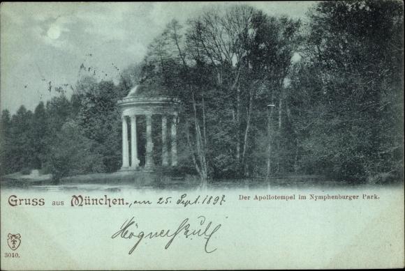 Mondschein Ak München in Bayern, Apollotempel im Nymphenburger Park