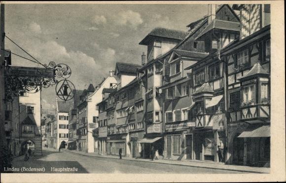 Ak Lindau im Bodensee Schwaben, Partie an der Hauptstraße