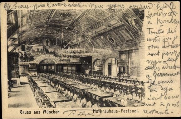 Ak München in Bayern, Hofbräuhaus, Festsall