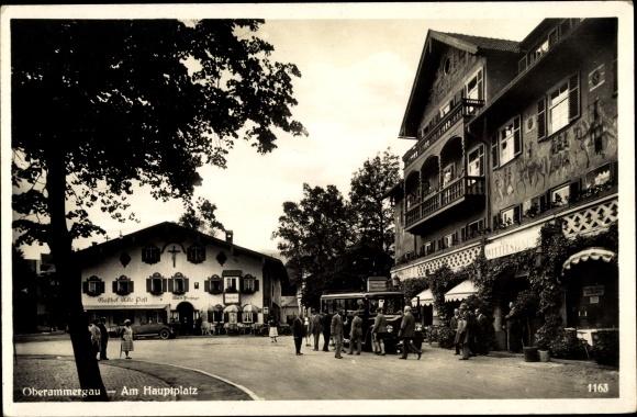 Ak Oberammergau in Oberbayern, Partie am Marktplatz