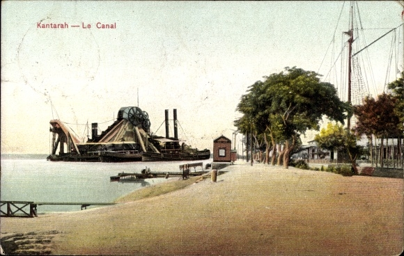 Ak El Kantara Qantara Ägypten, Le Canal, Uferpartie am Suezkanal