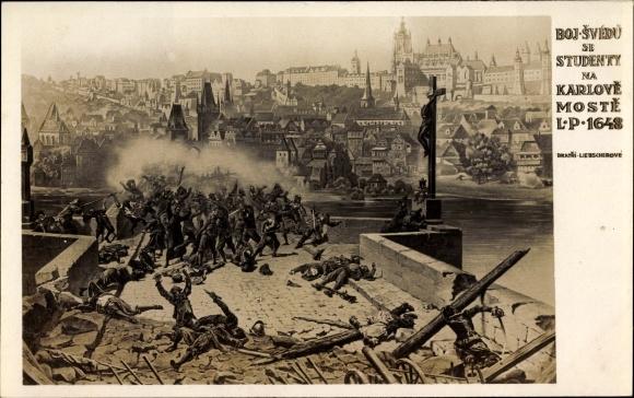 Ak Praha Prag, Boj Svedu de Studenty na Karlove Moste 1648, Schlacht um Prag