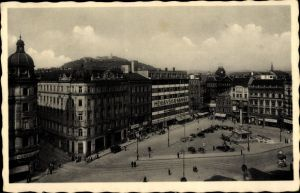 Ak Brno Brünn Südmähren, Blick auf den Freiheitsplatz, Moravska Banka