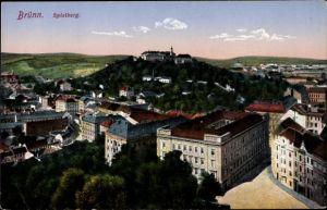 Ak Brno Brünn Südmähren, Teilansicht der Stadt mit Blick zum Spielberg