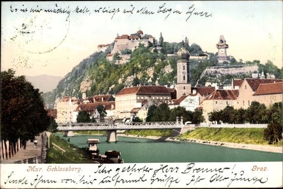 Ak Graz Steiermark, Blick über den Fluss zum Schlossberg, Uhrturm, Brücke