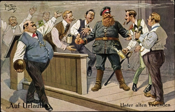 Künstler Ak Thiele, Arthur, Auf Urlaub, Unter alten Freunden, Kegelabend, Bier, Soldatenleben
