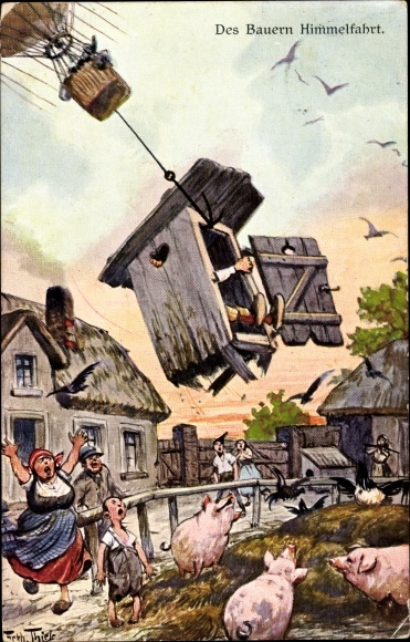 Künstler Ak Thiele, Arthur, Des Bauern Himmelfahrt, Ballon hebt Klohäuschen hoch, Schweine