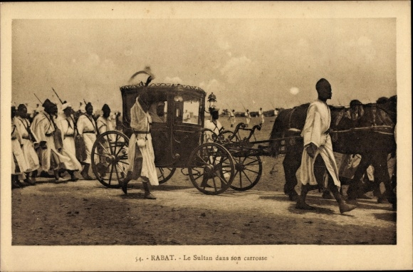 Ak Rabat Marokko, Le Sultan dans son carrosse, Sultan in der Kutsche mit Gefolge
