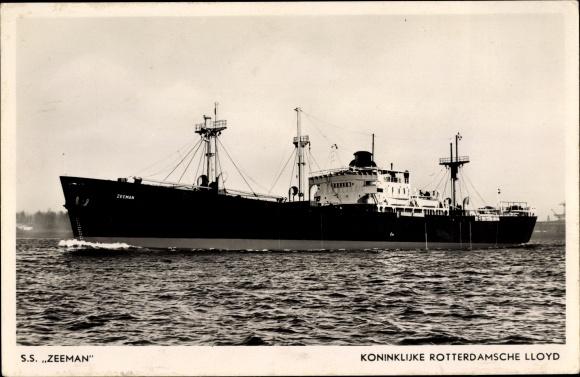 Ak Passagierschiff, SS Zeeman, KRL, Ansicht Backbord